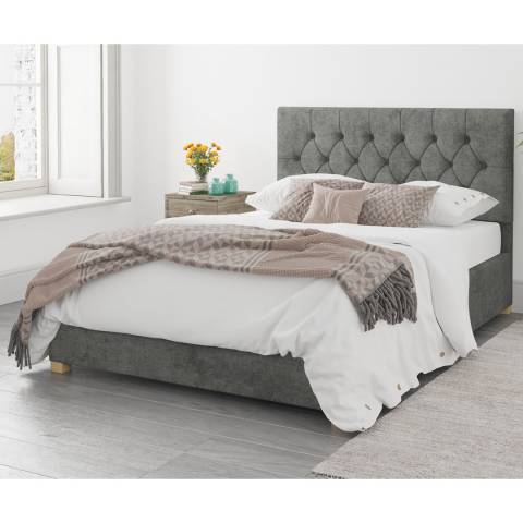 Aspire Furniture Ottoman Luxury Linen - Granite - Superking (6')