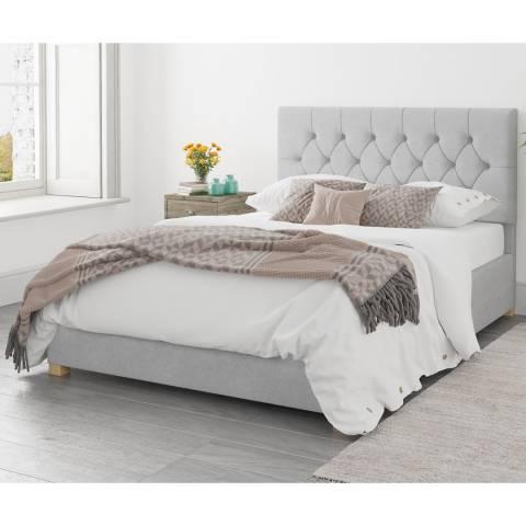 Aspire Furniture Ottoman Luxury Linen - Silver - Small Double (4')