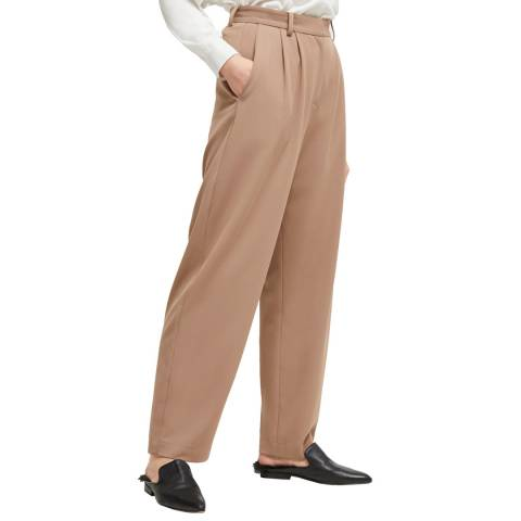 French Connection Beige Amato Double Pleated Trousers