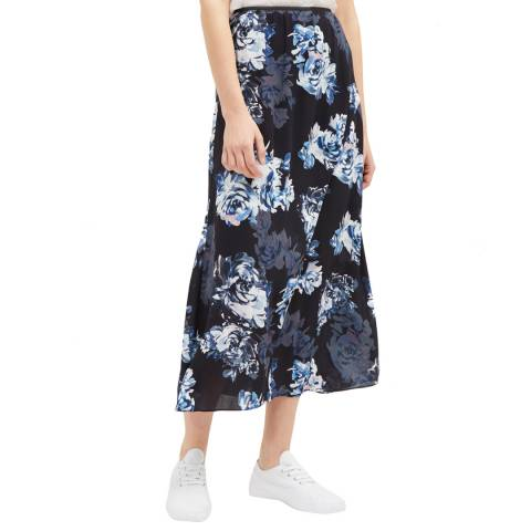 French Connection Blue/Black Caterina Crepe Midi Wrap Skirt