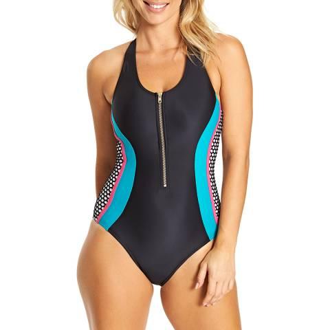 Zoggs Black Elevation Zip Front Swimsuit