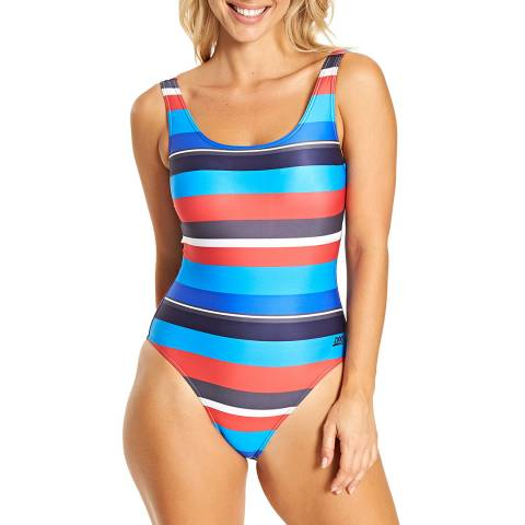 Zoggs Stripe Pop Block Scoopback Swimsuit