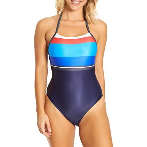 Zoggs Navy/ Stripe Pop Block T Back Swimsuit