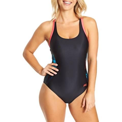 Zoggs Black Illusion Atom Back Swimsuit