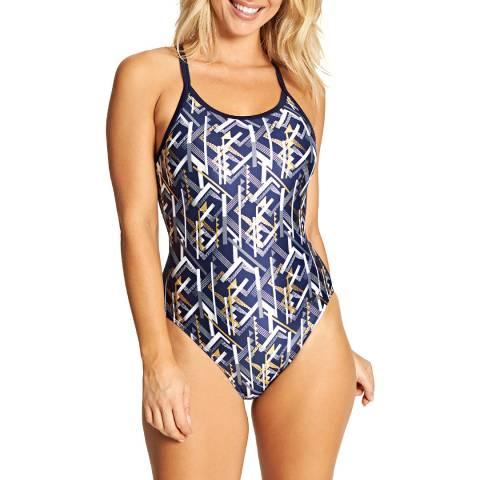 Zoggs Multi/Navy Metallix Sprintback Swimsuit