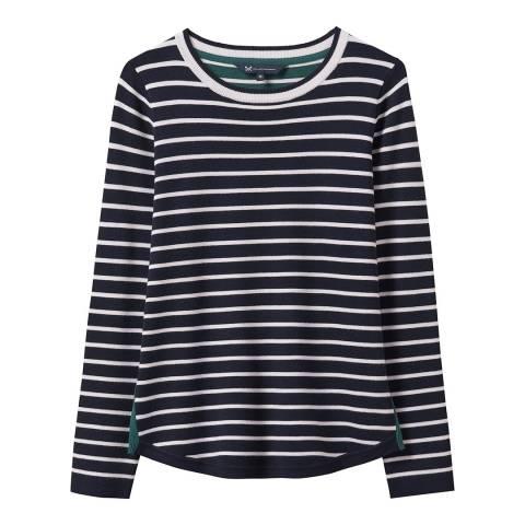 Crew Clothing Navy/White Mix Stripe Jumper