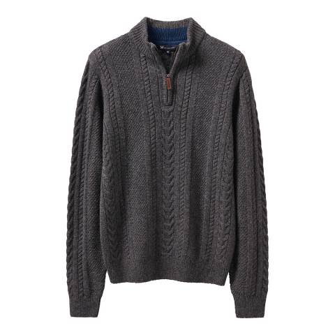 Crew Clothing Charcoal Drayton Cable 1/2 Zip Jumper