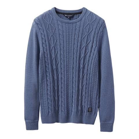 Crew Clothing Blue Northam Cable Jumper