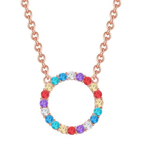 Glamcode Multi Coloured Circle Necklace with Swarovski Crystals