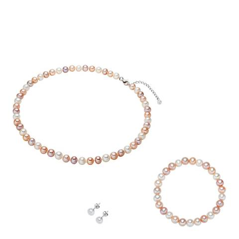 Nova Pearls Copenhagen White/Orange/Lilac Freshwater Pearl Necklace, Bracelet and Earring Set