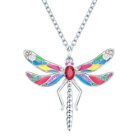Glamcode Silver Dragonfly Necklace with Swarovski Crystals