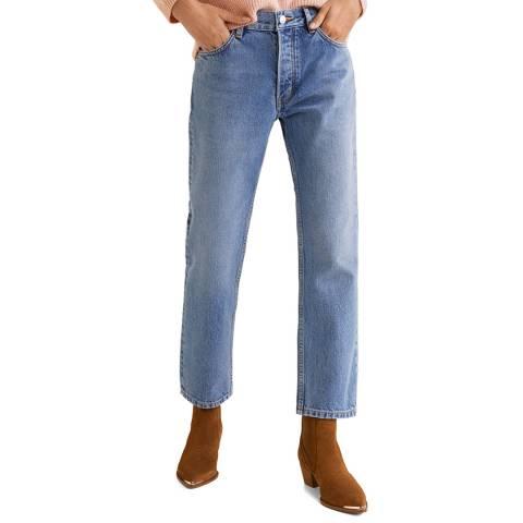 Mango Medium Blue Sayana Organic Cotton Straight Jeans