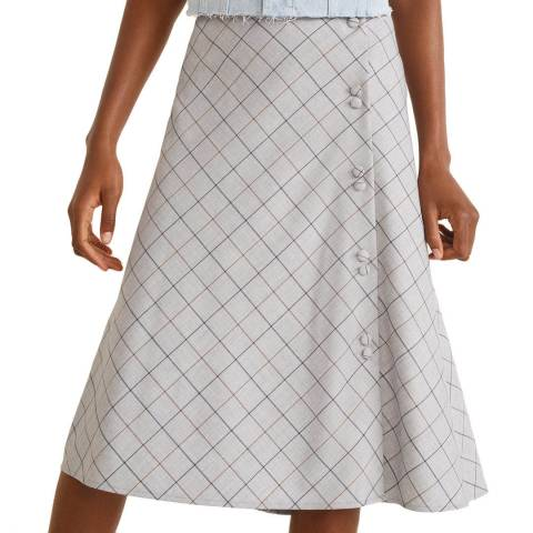 Mango Grey Buttoned Checked Skirt