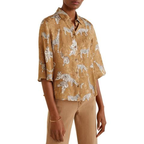 Mango Brown Print Jacquard Shirt