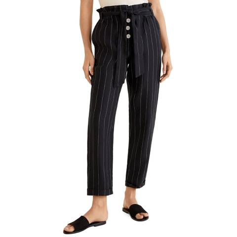 Mango Black Striped Linen-Blend Pants