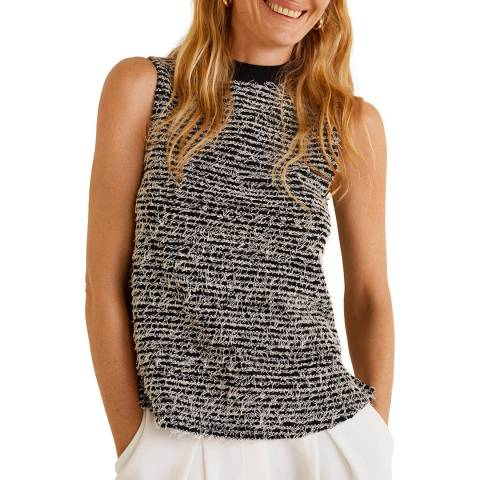 Mango Black Textured Jacquard Top