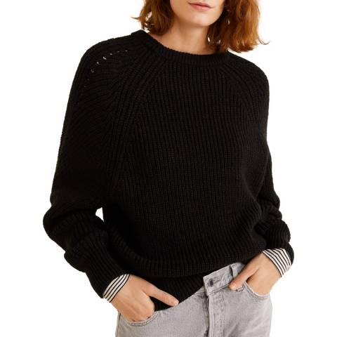 Mango Black Knitted Braided Sweater