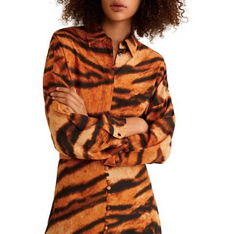 Mango Orange Tiger Print Shirt