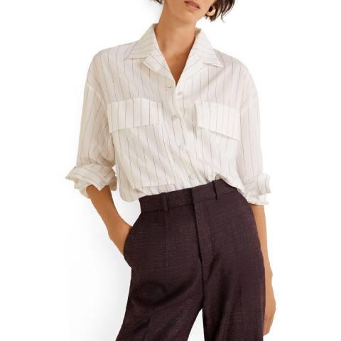Mango White Pocket Striped Shirt