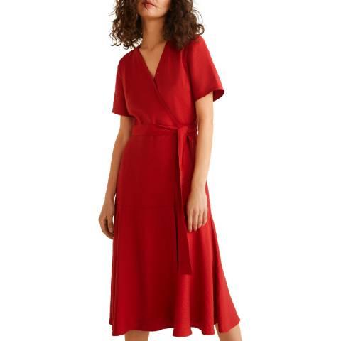 Mango Red Textured Bow Dress