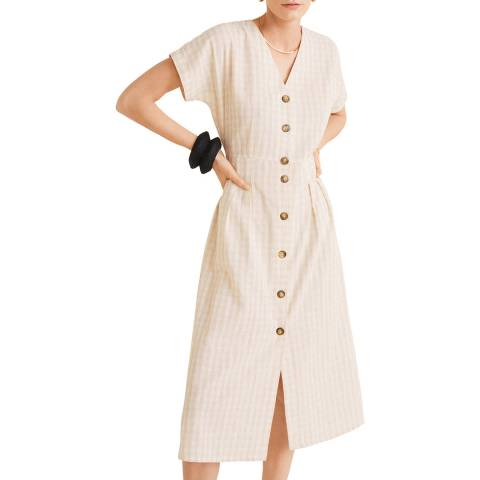 Mango Beige Checked Linen Dress