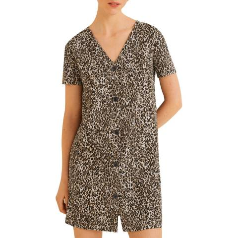 Mango Brown Buttoned Printed Dress