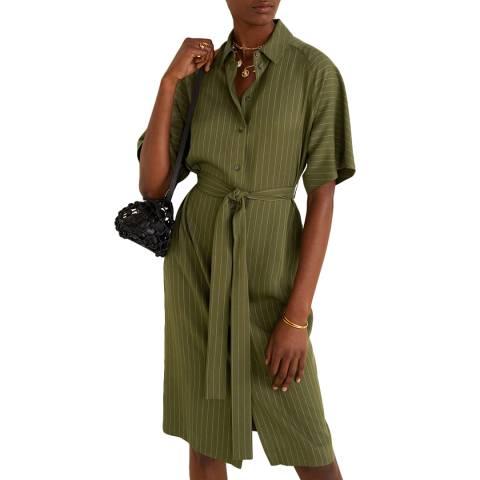 Mango Khaki Belt Midi Dress