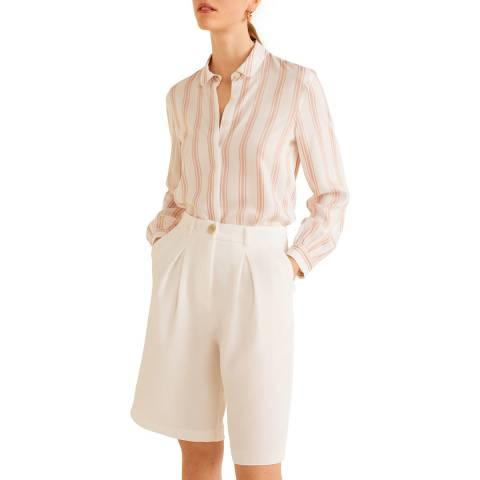 Mango Pink Striped Flowy Shirt