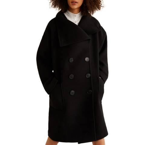 Mango Black Double-Breasted Wool Coat