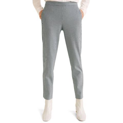 Mango Dark Navy Straight Checkered Trousers