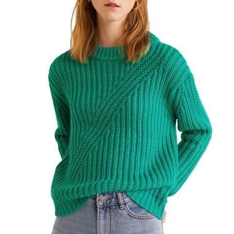 Mango Emerald Green Chunky-Knit Sweater