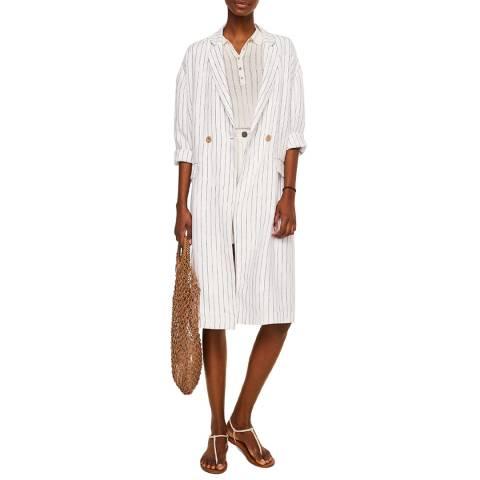 Mango White Linen Blazer Style Jacket
