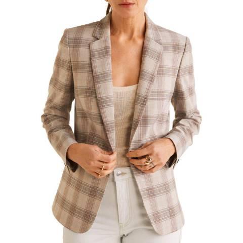 Mango Beige Check Suit Blazer