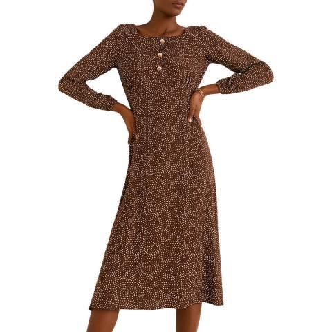 Mango Brown Polka-Dot Print Dress