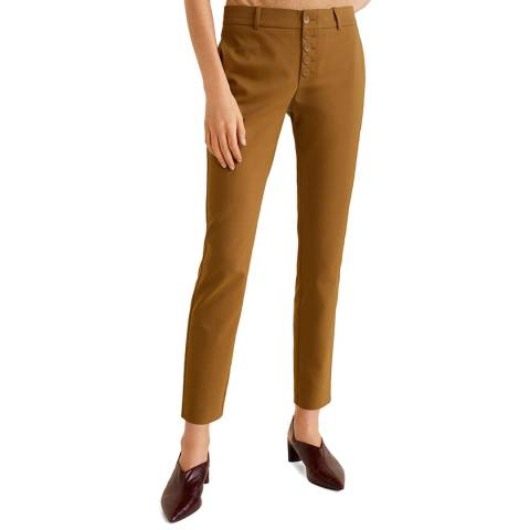 Mango Khaki Buttons Cotton Trousers
