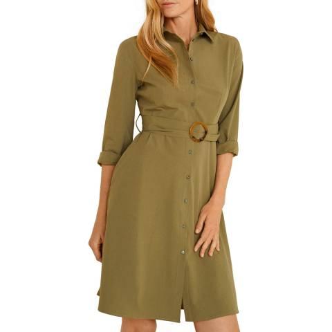 Mango Khaki Belt Shirt Dress