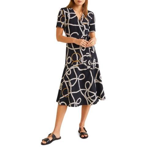 Mango Dark Navy Scarf-Print Long Dress