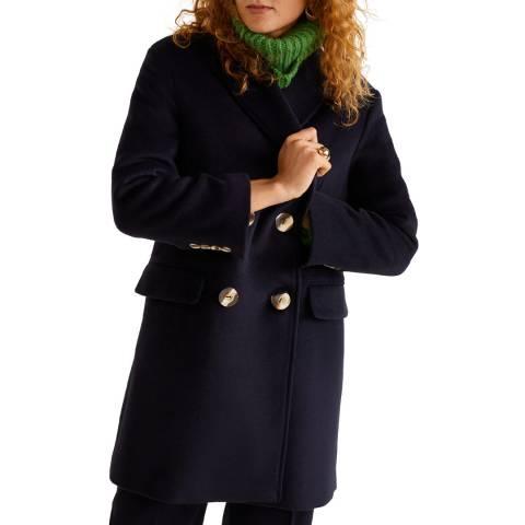 Mango Dark Navy Buttoned Wool Coat