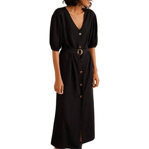 Mango Black Buttoned Bow Dress