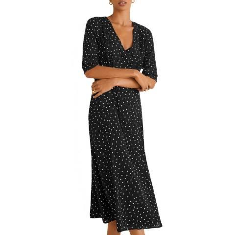 Mango Black Wrap Polka-Dot Dress