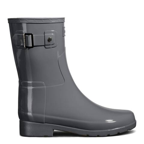 Hunter Grey Gloss Refined Short Wellington Boots