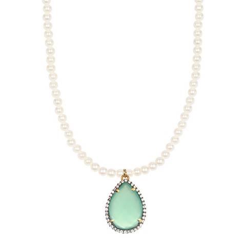 Liv Oliver 18K Gold Sea Green CZ Pear Drop Pearl Necklace