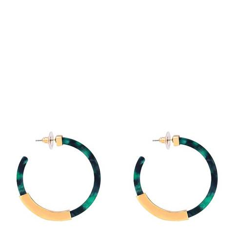 Liv Oliver 18K Gold Green Shell Hoop Earrings