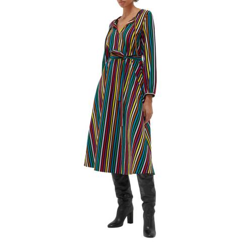 Chinti and Parker Multi Cotton Striped Dress