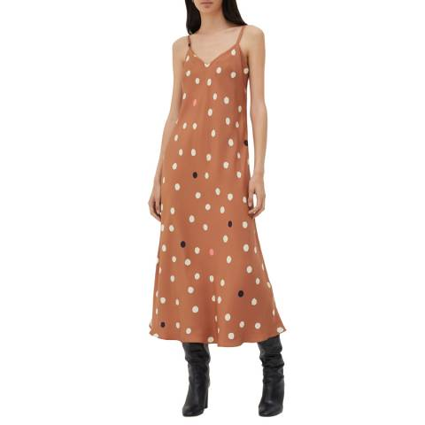 Chinti and Parker Ginger Painted Silk Spot Slip Dress