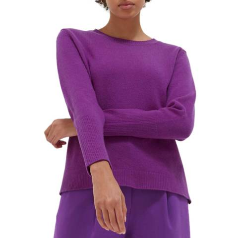 Chinti and Parker Purple Cashmere Ribbed Back Sweater