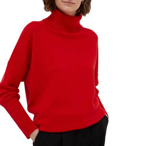 Chinti and Parker Bright Red Cashmere Relaxed Polo