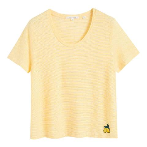Chinti and Parker Ivory/Buttercup Linen Patch T-Shirt