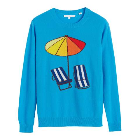 Chinti and Parker Turquoise Cashmere Sunbed Sweater