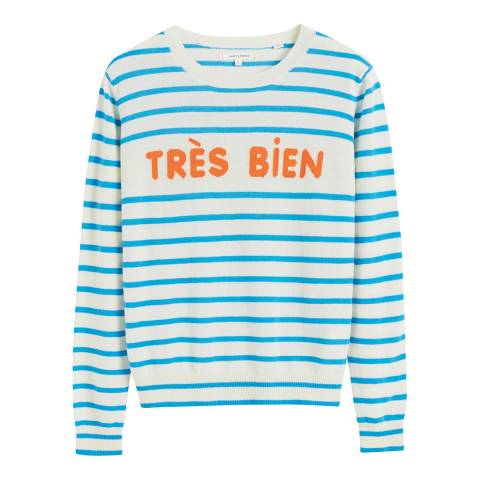 Chinti and Parker Cream/Blue Cashmere Tres Bien Sweater